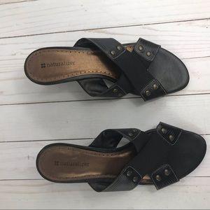 Black Naturalizer thick leather strap sandal 8 1/2